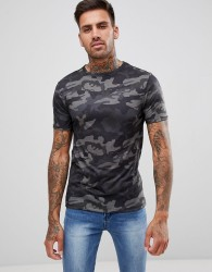 River Island T-Shirt In Dark Camo Print - Green