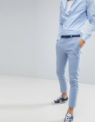River Island Wedding Linen Suit Trousers In Light Blue - Blue