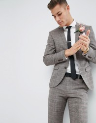 River Island Wedding Skinny Fit Suit Jacket In Brown And Pink Check - Pink
