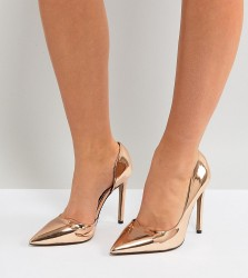 River Island Wide Fit Heeled Court Shoes - Gold