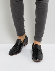 River Island Woven Loafer With Tassels In Black - Black