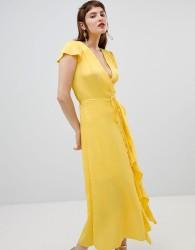 River Island wrap front ruffle dress - Yellow