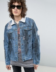 Roadies of 66 Destroyed Indigo Denim Jacket with Sherpa Collar - Blue