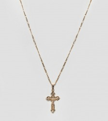 Rock 'N' Rose gold plated chunky cross necklace - Gold
