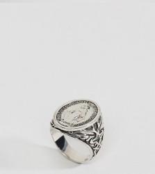 Rock N Rose Sterling Silver Signet Ring - Silver