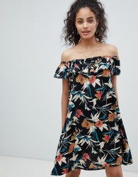 Rock & Religion Off Shoulder Tropical Print Dress - Multi