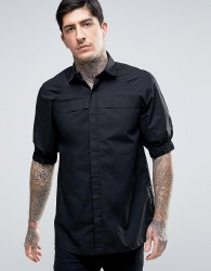 Rogues Of London Skinny Cuff Sleeve Shirt - Black