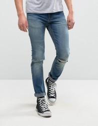 Rollas Thin Captain Slim Fit Jeans Rambler Wash - Blue
