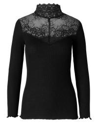 Rosemunde 5656 silk t-shirt turtleneck regular Is w/lace (OFFWHITE, LARGE)
