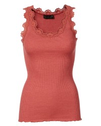 Rosemunde Silk Top w/Vintage Lace 5205 (MØRK ROSA, MEDIUM)