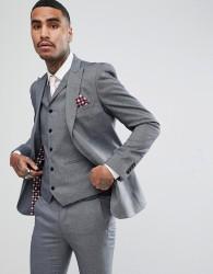 Rudie Light Grey Jacquard Skinny Fit Suit Jacket - Grey