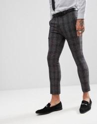 Rudie Skinny Nep Check Suit Crop Trousers - Grey
