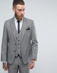 Rudie Super Skinny Grey Check Suit Jacket - Grey