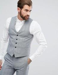Rudie Twisted Check Skinny Fit Waistcoat - Black