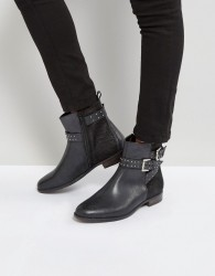 Rule London Stud Strap Flat Leather Boot - Black