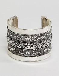 Sacred Hawk chunky engraved cuff bracelet - Silver