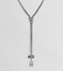 Sacred Hawk chunky lariat necklace - Silver