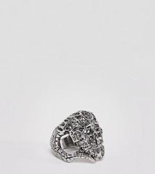 Sacred Hawk chunky skull ring - Silver