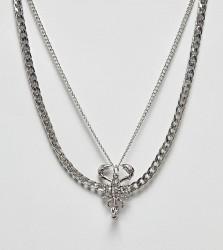 Sacred Hawk multi necklace with scorpion pendant - Silver