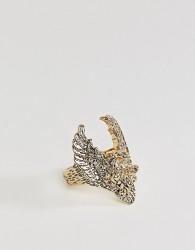 Sacred Hawk oversized hawk ring - Gold