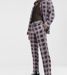 Sacred Hawk relaxed crop trousers in check flannel - Grey