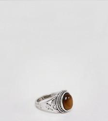 Sacred Hawk tigers eye ring - Silver