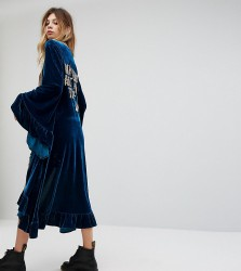Sacred Hawk Velvet Maxi Kimono With Sequin Back Text - Green