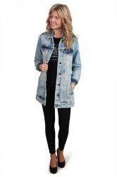 Saint Tropez - Jakke - P7047 - Long Denim Jacket - Used Denim