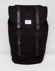 Sandqvist Stig Organic Cotton Backpack With Leather Straps - Black