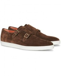 Santoni Double Monk Shoe Brown Suede men UK10 - EU44 Brun