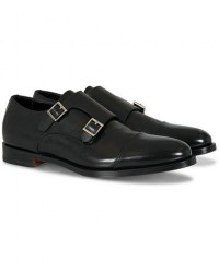 Santoni Wilson Double Monk Black Calf men UK10 - EU44 Sort