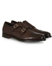 Santoni Wilson Double Monk Dark Brown Calf men UK8 - EU42