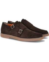 Santoni Yalta Double Monkstrap Dark Brown Nubuck men UK6 - EU40