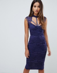 Scarlet Rocks harness lace midi dress in navy - Navy