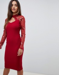 Scarlet Rocks scuba midi dress with sequin sleeve detail in red - Red