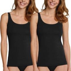 Schiesser 2-pak Essentials Cotton Strap Tops - Black * Kampagne *