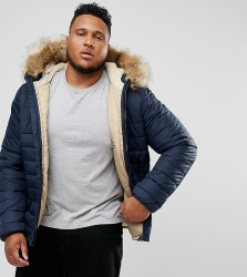 Schott PLUS Rocky 2 Puffer Bomber Jacket Hooded Detachable Faux Fur Trim Slim Fit in Navy - Navy