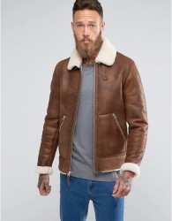 Schott Shearling Flight Jacket Slim Fit in Tan - Tan