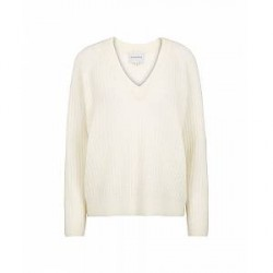 Second Female Alissa knit v-neck (Offwhite, LARGE)
