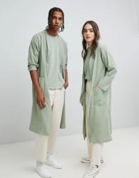 Seeker Kimono Style Lab Coat in Organic Cotton - Green