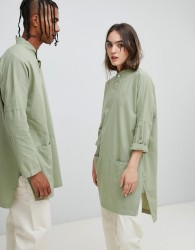 Seeker Mandarin Collar Tunic in Organic Hemp Cotton - Green