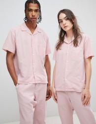 Seeker Short Sleeve Vacation Shirt in Organic Hemp Cotton - Pink
