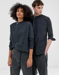 Seeker unisex asymmetric shirt in organic hemp cotton - Navy