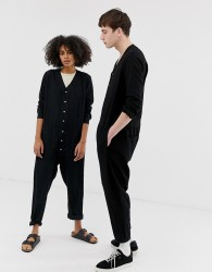 Seeker unisex jumpsuit in organic hemp cotton - Black
