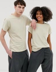 Seeker unisex pocket t-shirt in organic cotton - Beige