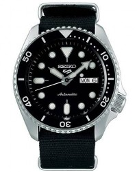 Seiko 5 Sports Mens 43mm 100m Automatic Black Dial/Nato men One size Sort