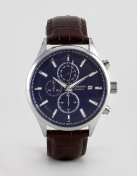 Sekonda 1186 chronograph watch with blue dial and brown leather strap - Brown