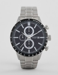 Sekonda 1375 chronograph watch with black dial and silver strap - Silver