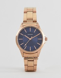 Sekonda 2457 bracelet watch with blue dial and rose gold case - Blue