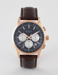 Sekonda 3413 chronograph watch with black dial and brown leather strap - Brown
